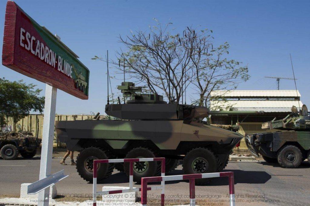 Interpretación artística del futuro EBRC Jaguar desplegado en una nación africana. Imagen modificada por RoberD.
